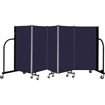 """Screenflex 5 Panel Portable Room Divider, 4' H x 9'5"""" L, Fabric Color: Navy"""