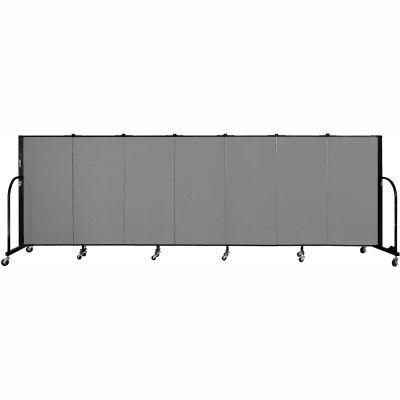 "Screenflex 7 Panel Portable Room Divider, 4'H x 13'1""L Fabric Color: Stone"