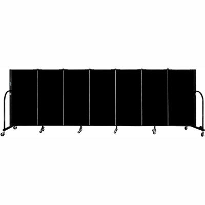 "Screenflex 7 Panel Portable Room Divider, 4'H x 13'1""L Fabric Color: Charcoal Black"