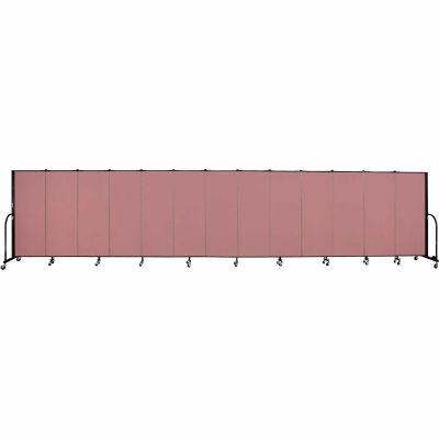 """Screenflex 13 Panel Portable Room Divider, 5'H x 24'1""""L, Fabric Color: Mauve"""