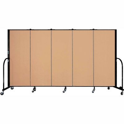 "Screenflex 5 Panel Portable Room Divider, 5'H x 9'5""L, Fabric Color: Desert"