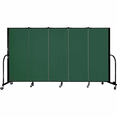 "Screenflex 5 Panel Portable Room Divider, 5'H x 9'5""L, Fabric Color: Green"