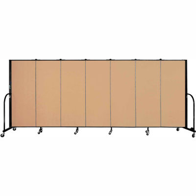 "Screenflex 7 Panel Portable Room Divider, 5'H x 13'1""L, Fabric Color: Wheat"