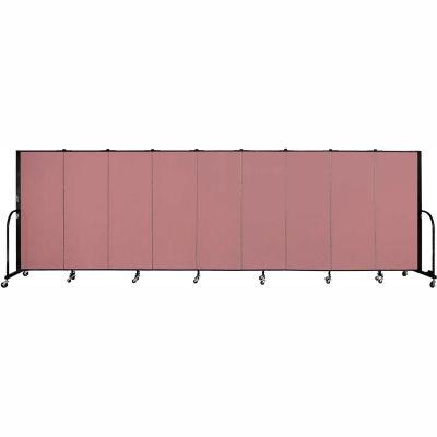 "Screenflex 9 Panel Portable Room Divider, 5'H x 16'9""L, Fabric Color: Rose"