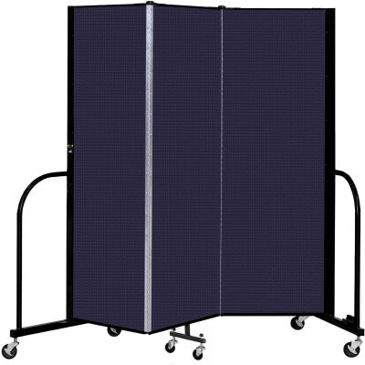 """Screenflex 3 Panel Portable Room Divider, 6' H x 5'9"""" L, Fabric Color: Navy"""