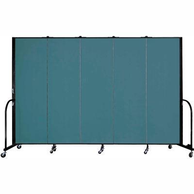 "Screenflex Portable Room Divider - 5 Panel - 6'H x 9'5""L -  Lake"