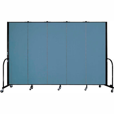 "Screenflex Portable Room Divider - 5 Panel - 6'H x 9'5""L -  Summer Blue"