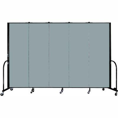 "Screenflex Portable Room Divider - 5 Panel - 6'H x 9'5""L -  Grey Stone"