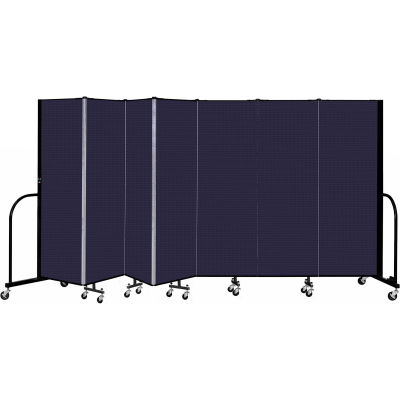 """Screenflex 7 Panel Portable Room Divider, 6' H x 13'1"""" L, Fabric Color: Navy"""