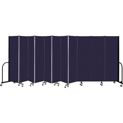 """Screenflex 11 Panel Portable Room Divider, 6'8"""" H x 20'5"""" L, Fabric Color: Navy"""