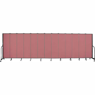 "Screenflex 13 Panel Portable Room Divider, 6'8""H x 24'1""L, Fabric Color: Rose"