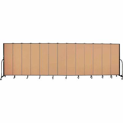 "Screenflex 13 Panel Portable Room Divider, 6'8""H x 24'1""L, Fabric Color: Desert"
