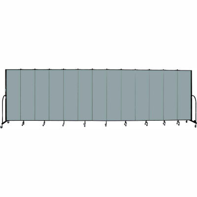 "Screenflex 13 Panel Portable Room Divider, 6'8""H x 24'1""L, Fabric Color: Grey Stone"