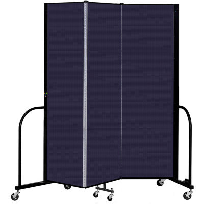 "Screenflex 3 Panel Portable Room Divider, 6'8"" H x 5'9"" L, Fabric Color: Navy"
