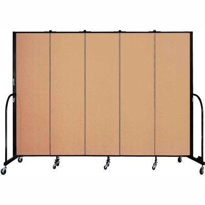 "Screenflex 5 Panel Portable Room Divider, 6'8""H x 9'5""L, Fabric Color: Desert"