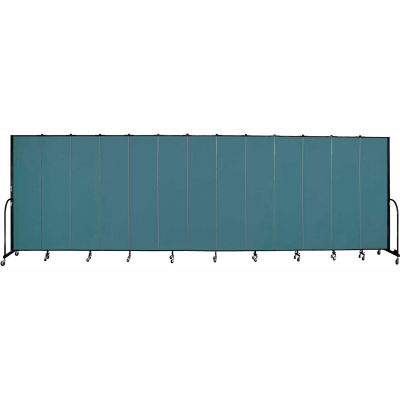 "Screenflex 13 Panel Portable Room Divider, 7'4""H x 24'1""L, Fabric Color: Lake"