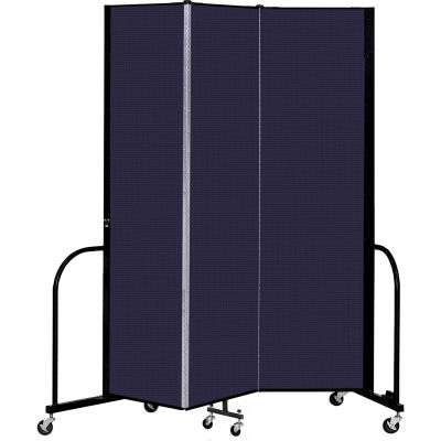 """Screenflex 3 Panel Portable Room Divider, 7'4"""" H x 5'9"""" L, Fabric Color: Navy"""