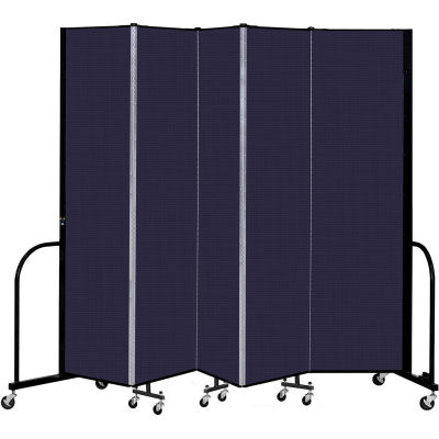 """Screenflex 5 Panel Portable Room Divider, 7'4"""" H x 9'5"""" L, Fabric Color: Navy"""