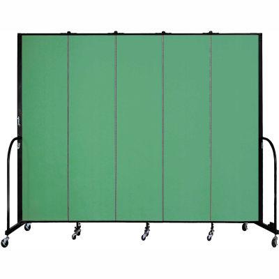 "Screenflex 5 Panel Portable Room Divider, 7'4""H x 9'5""L, Fabric Color: Sea Green"