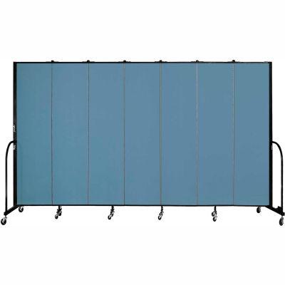 "Screenflex 7 Panel Portable Room Divider, 7'4""H x 13'1""L, Fabric Color: Blue"