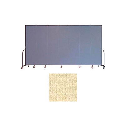 "Screenflex 7 Panel Portable Room Divider, 7'4""H x 13'1""L, Vinyl Color: Hazelnut"