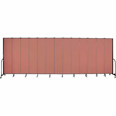 "Screenflex 13 Panel Portable Room Divider, 8'H x 24'1""L, Fabric Color: Cranberry"