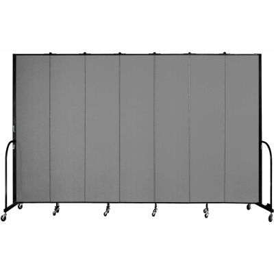 "Screenflex 7 Panel Portable Room Divider, 8'H x 13'1""L, Fabric Color: Stone"