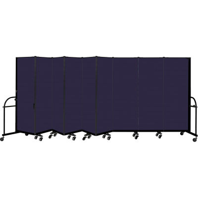 "Screenflex 9 Panel Heavy Duty Portable Room Divider, 6'H x 16' 9""L, Fabric Color: Navy"