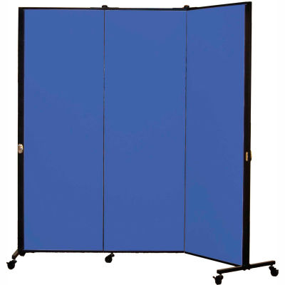 Healthflex Portable Medical Privacy Screen, 3-Panel, Primary Blue