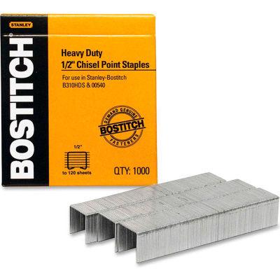 "Stanley Bostitch® Heavy-Duty Staples, 85 Sheet Capacity, 1/2"" Leg Length, 1000/Box"