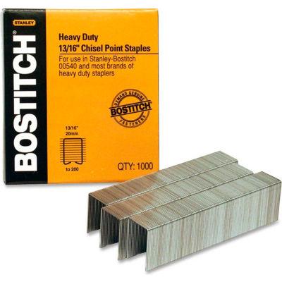 "Stanley Bostitch® Heavy-Duty Staples, 165 Sheet Capacity, 13/16"" Leg Length, 1000/Box"