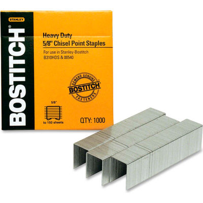 "Stanley Bostitch® Heavy-Duty Staples, 130 Sheet Capacity, 5/8"" Leg Length, 1000/Box"