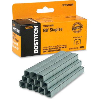 "Stanley Bostitch® B8 PowerCrown™ Staples, 45 Sheet Capacity, 3/8"" Leg Length, 5000/Box"