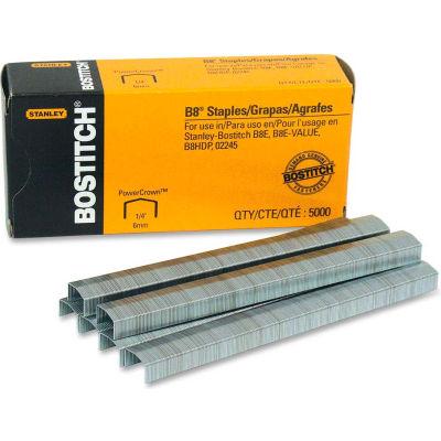 "Stanley Bostitch® B8 PowerCrown™ Staples, 30 Sheet Capacity, 1/4"" Leg Length, 5000/Box"