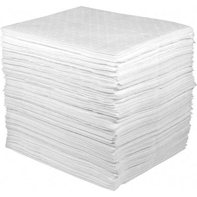 """Oil Only Light Weight Sorbent Pads, 32 Gallon Capacity, 15"""" x 18"""", 200 Pads/Bag"""