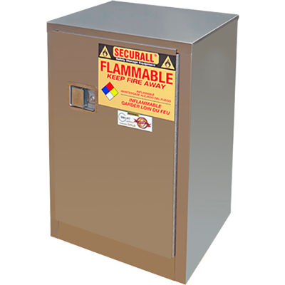 Securall® 12-Gallon Self-Close Door Flammable Cabinet Stainless Steel