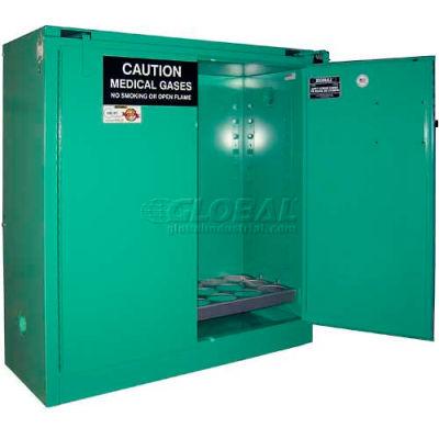 "Securall® 24, D & E Cylinder, Vertical Medical Gas Cabinet, 43""W x 18""D x 46""H, Self Close"