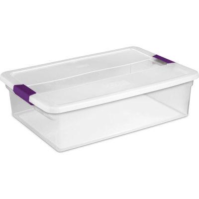 "Sterilite Clearview Storage Box With Latched Lid 17551706 - 32 Qt. 23-5/8""L x 16-3/8""W x 6-1/2""H - Pkg Qty 6"