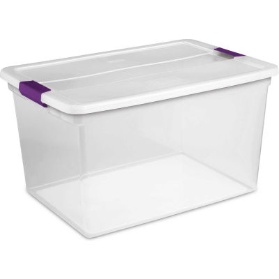 "Sterilite Clearview Storage Box With Latched Lid 17571706 - 66 Qt. 23-5/8""L x 16-3/8""W x 13-1/4""H - Pkg Qty 6"