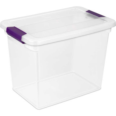 "Sterilite Clearview Storage Box With Latched Lid 17631706 - 27 Qt. 17""L x 11-1/8""W x 12-3/4""H - Pkg Qty 6"