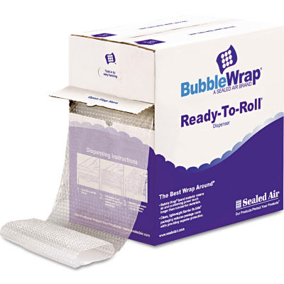 """Sealed Air Bubble Wrap® Cushion Bubble Roll, 12""""W x 65'L x 1/2"""" Thick, Clear, 1 Roll"""