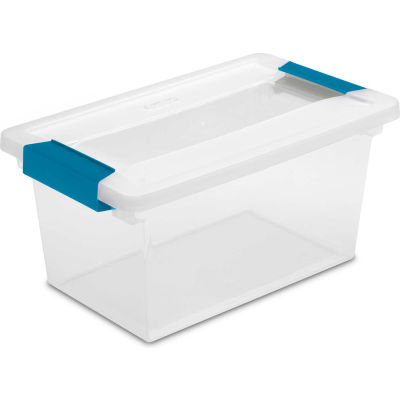 "Sterilite Medium Clip Clear Storage Box With Latched Lid 19628604 - 11""L x 6-5/8""W x 5-3/8""H - Pkg Qty 4"