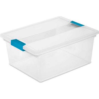 "Sterilite Deep Clip Clear Storage Box With Latched Lid 19658604 - 14""L x 11""W x 6-1/4""H - Pkg Qty 4"