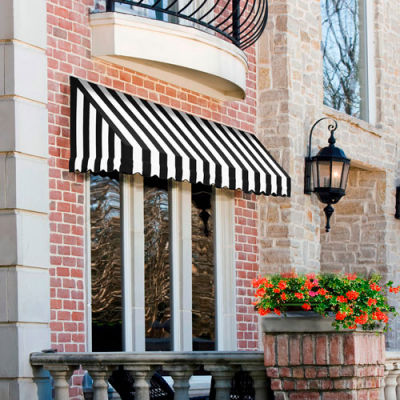 "Awntech CF44-3KW, Window/Entry Awning 3' 4 -1/2""W x 4'D x 4' 8""H Black/White"