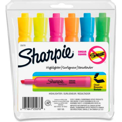 Sharpie® Accent Tank Highlighter, Nontoxic, Chisel Tip, Assorted Ink, 6/Set