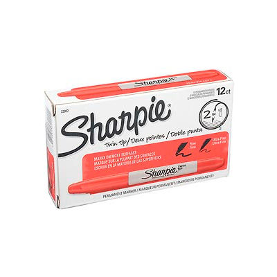 Sharpie® Twin-Tip Permanent Marker, Fine/Ultra Point, Red Ink - Pkg Qty 12