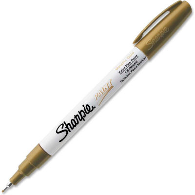 Sharpie® Paint Marker, Oil-Based, Extra Fine, Metallic Gold Ink, 1 Each