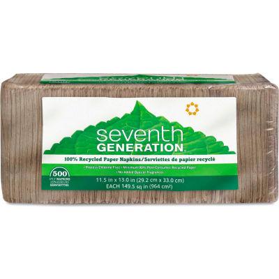 "Seventh Generation® SEV13705PK Unbleached Napkins, 12""W x 12""D, Brown, 500/Pack"