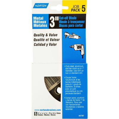 """Norton 07660747767  Cut-Off Wheel 3"""" x 1/16"""" x 3/8"""" 36 Grit Alum. Oxide Type 1, 5 Discs - Pkg Qty 5"""