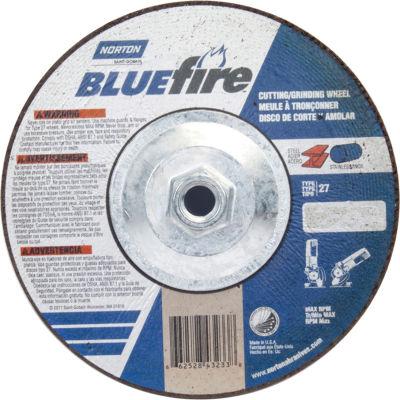 "Norton 66252843233 BlueFire Grinding and Cutting Wheel 7"" x 1/8"" x 5/8 - 11"" Zirconia / Alum. Oxide - Pkg Qty 10"